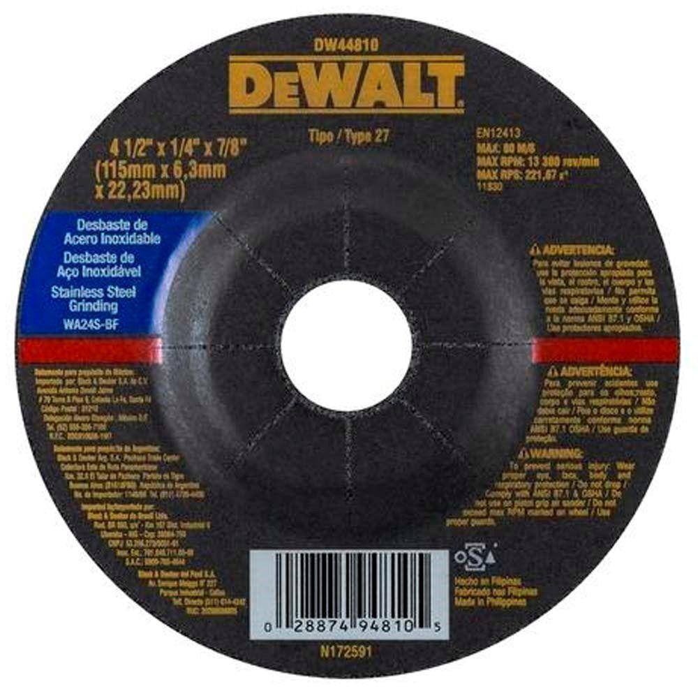 """Disco De Desbaste 4.1/2"""" Para Inox Dewalt Dw44810"""