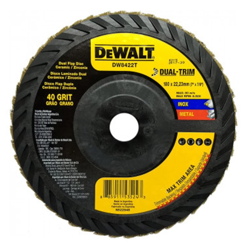 "Disco Flap 7"" GR 80 Cerâmico DUAL-TRIM DW8424T DEWALT"