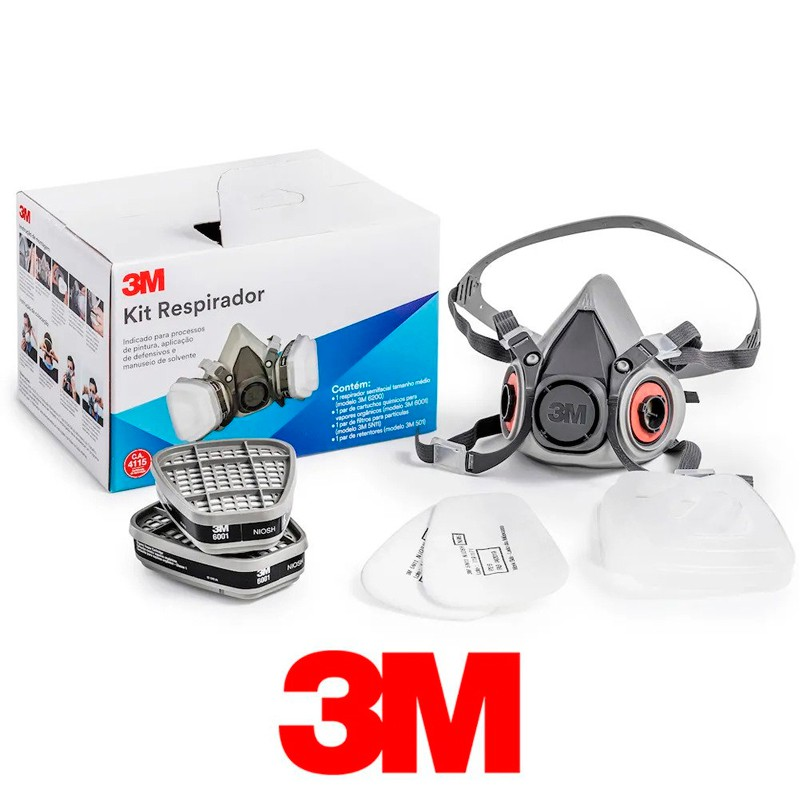 Kit Respirador 6200 MIN (1/6200, 2/6001, 2/5N11, 3M