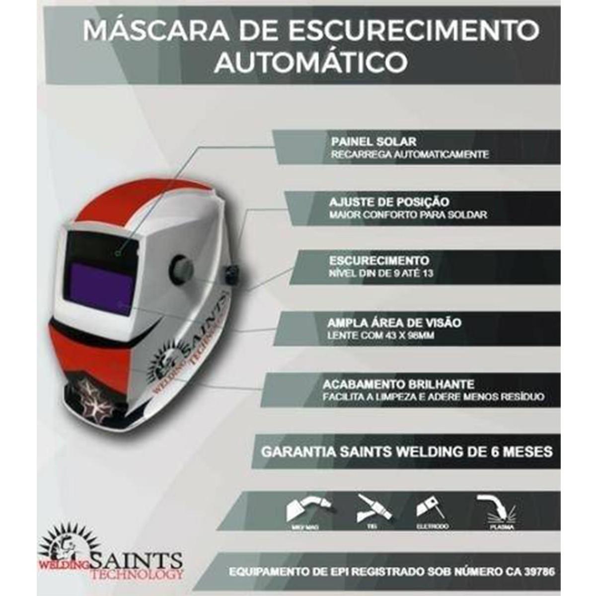 Máscara De Solda Auto Escurecimento Ton 9 A 13 Preta Saints