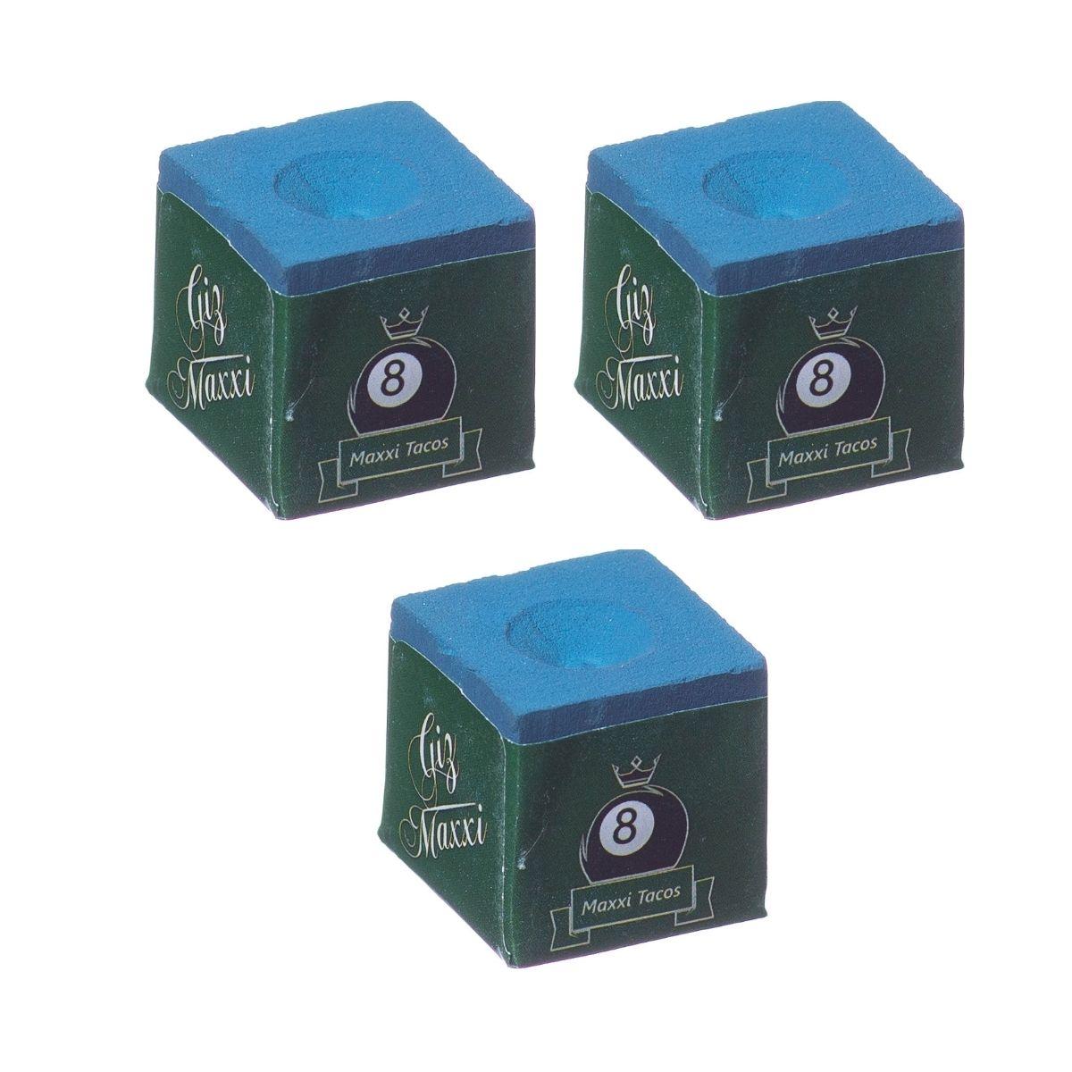 Giz Maxxi - Profissional Para Sinuca Azul - 03 Unidades