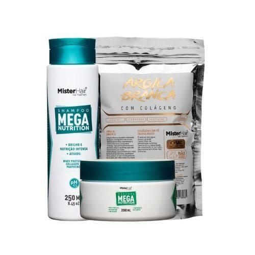 Kit Mega Nutrition (shampoo E Máscara) Com Argila Branca Com Colágeno - Mister Hair