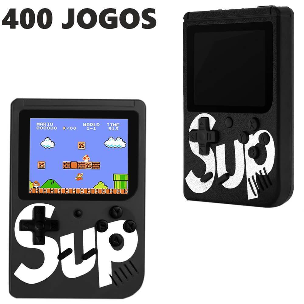 Video Game Portatil 400 Jogos Internos - Mini Game Sup Game Box Plus PRETO