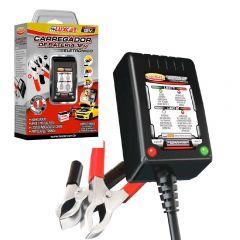 Carregador de Bateria 12V Eletrônico para Motos e Carros - Luxcar