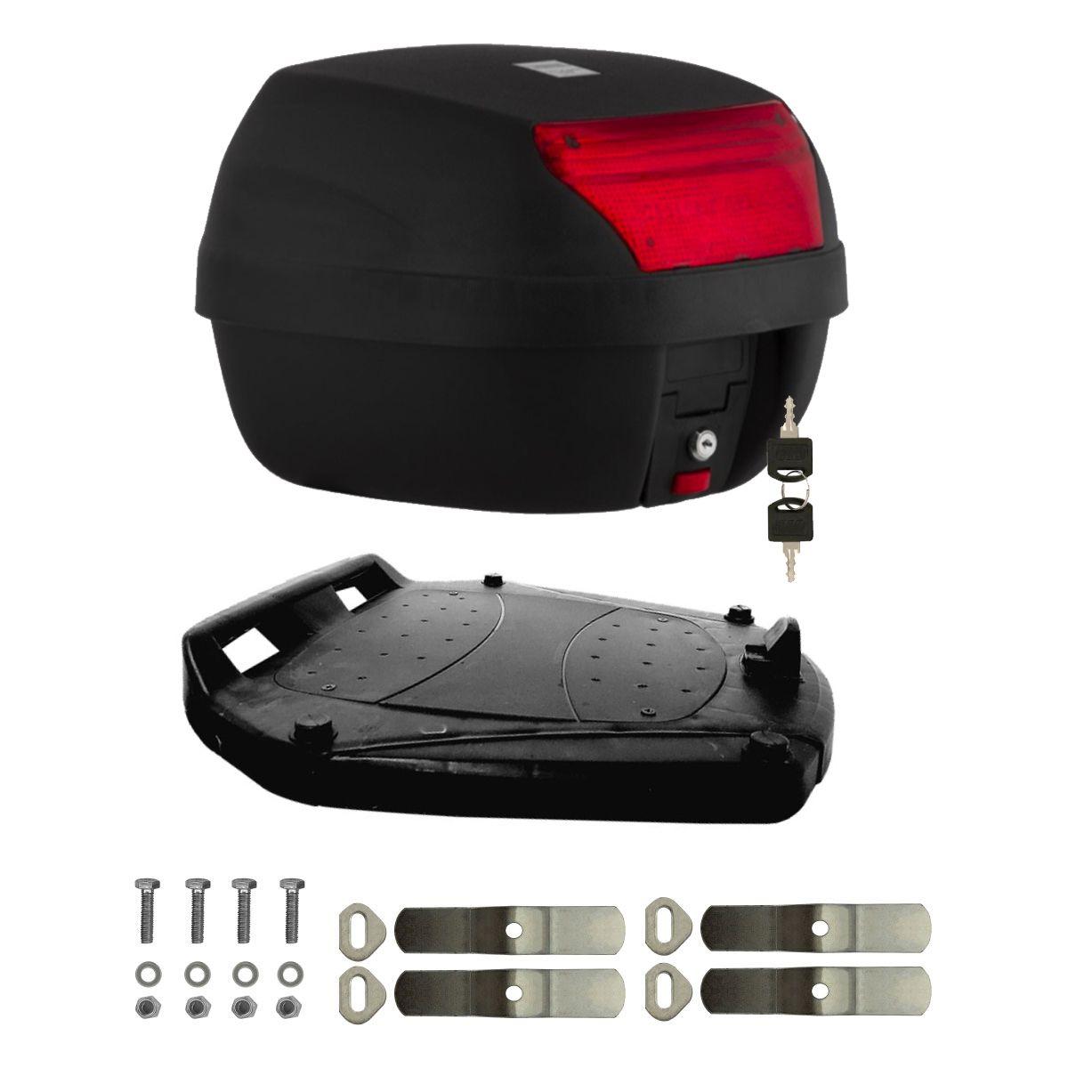Baú 28 Litros para Moto com Base, Kit Fixação e 2 Chaves, Bauleto Smart Box Pro Tork