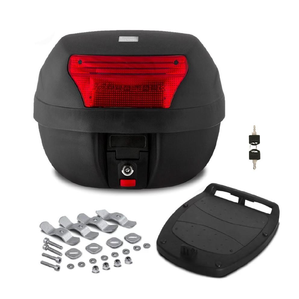 Baú Moto 28 Litros com Base, Kit Fixação e 2 Chaves, Bauleto Smart Box Pro Tork