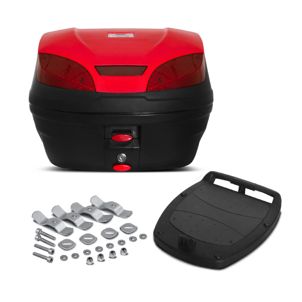 Baú Moto Bauleto 30 Litros, Smartbox 3, Vermelho, Kit Completo, Pro Tork, BP-10VM
