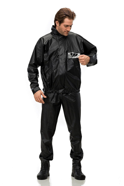 Capa de Chuva PVC para Motoqueiro - Jaqueta e Calça Impermeável c/ Gola Velcro, Zíper e Refletivo - Pantaneiro