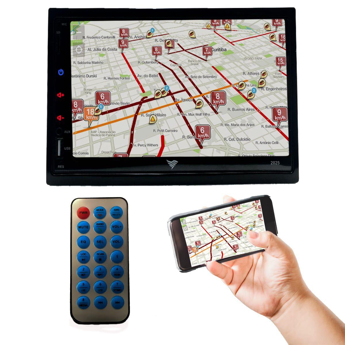 "Central Multimídia 2 Din 7"" Touch Screen HD Bluetooth Espelhamento Android USB SD P2 FM MP3 MP4 MP5"