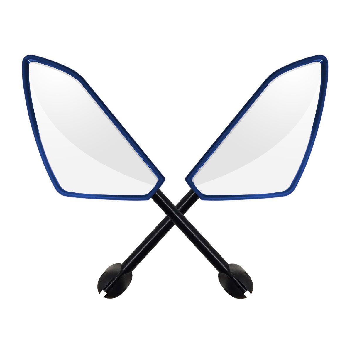 Espelho Retrovisor Honda - Direito e Esquerdo c/ Articulador - Azul - Rizoma Spider - Maximo