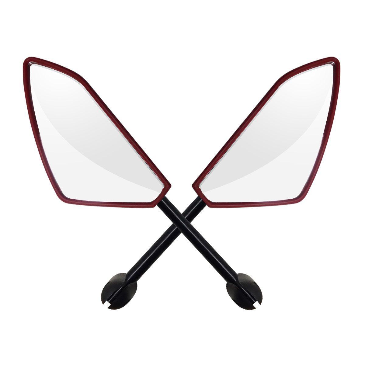 Espelho Retrovisor Honda - Direito e Esquerdo c/ Articulador - Vermelho - Rizoma Spider - Maximo