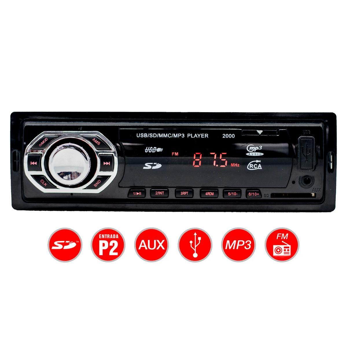 MP3 Player Automotivo Mix2000 USB SD Auxiliar P2 Rádio FM