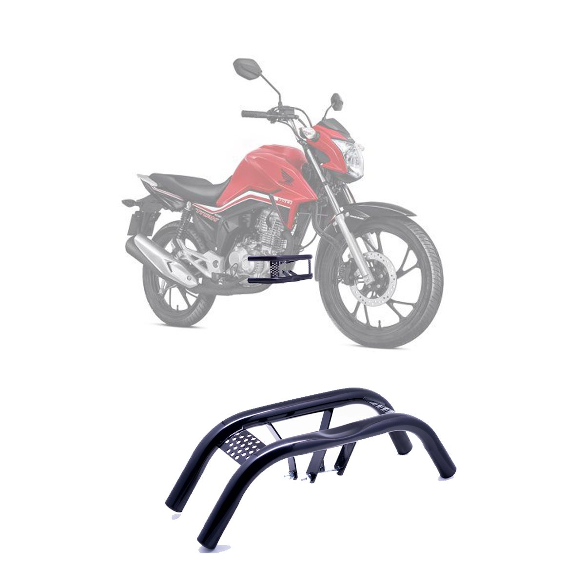 Protetor de Pernas Barra Dupla Honda CG TITAN FAN 150 / 160 2014 à 2019 - Preto - Pro Tork