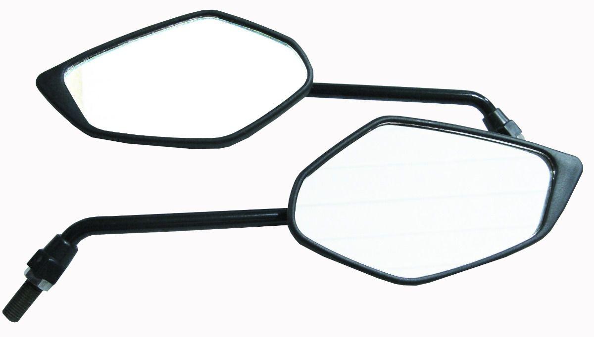 Espelho Retrovisor - Direito e Esquerdo - Padrão Yamaha Fazer YS 150 - Rosca Universal Yamaha - Lente Convexa - Preto - GVS