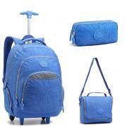 Kit Mochila Escolar para Notebook com Lancheira e Estojo Azul