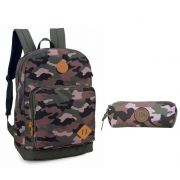 Mochila de Costas com Estojo Up4You Camuflada MS45570UP