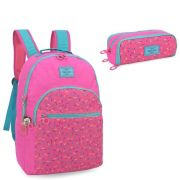 Mochila Escolar Maísa para Notebook com Estojo Pink MJ48503UP