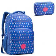 Mochila Escolar Seanite Azul Florida MJ14020 Com Estojo