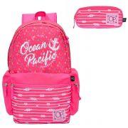 Mochila Feminina Ocean Pacific Pink OPM182147 Com Estojo
