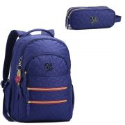 Mochila Feminina Seanite Azul MJ13868 com estojo