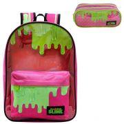 Mochila Infantil Slime com Estojo Rosa 9231