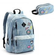 Mochila Seanite com Patches e Estojo MJ14609