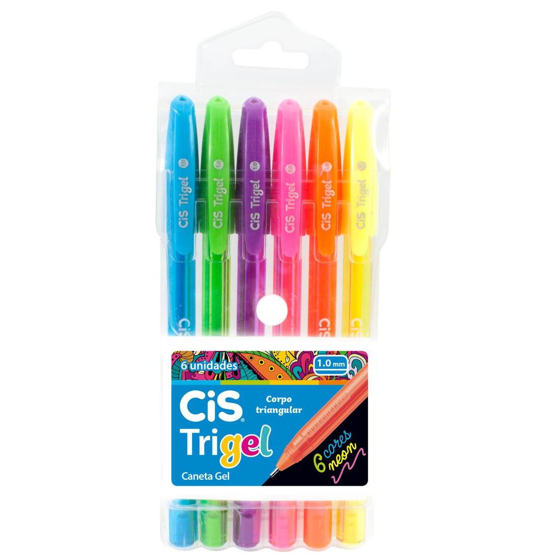 Caneta Gel Trigel Neon CiS 6 Cores