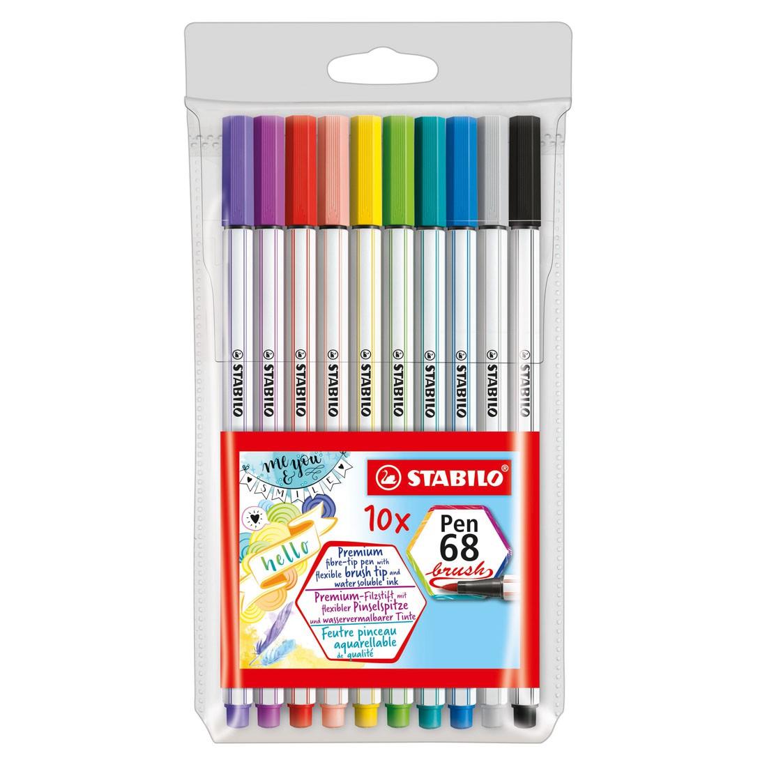 Caneta Stabilo Pen Brush 68 com 10 Cores