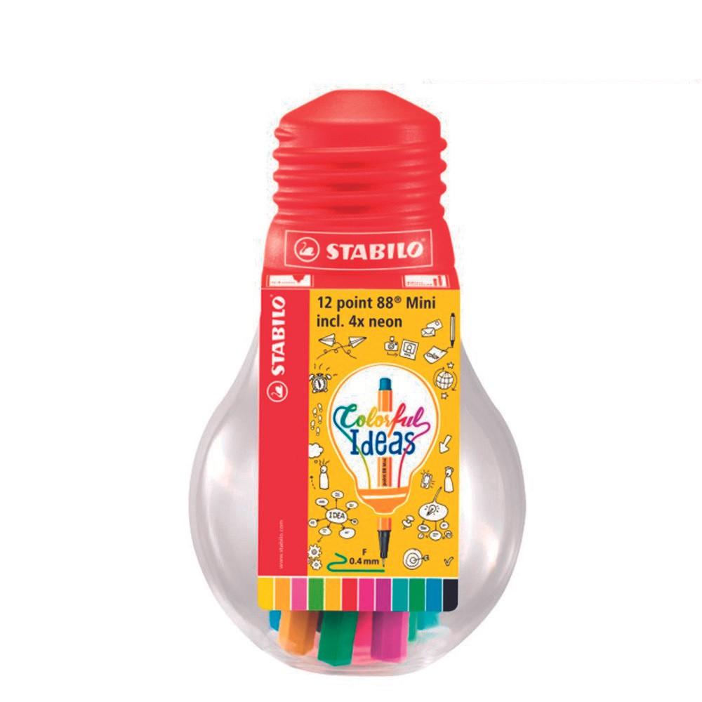 Kit Caneta Stabilo Point 88 Mini Colorful Ideas 12 Cores