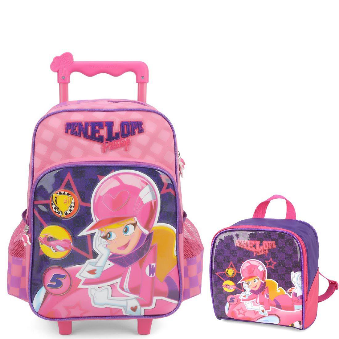 Kit Infantil Mochila de Rodinhas e Lancheira Penelope Pitstop Rosa