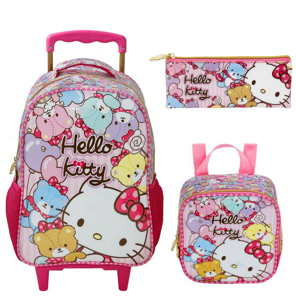 Kit Mochila com Rodinhas Hello Kitty Tiny Bears Lancheira e Estojo