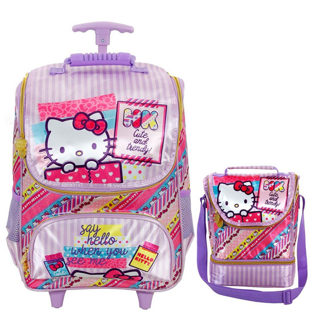 Kit Mochila com Rodinhas Hello Kitty Washi Pink com Lancheira