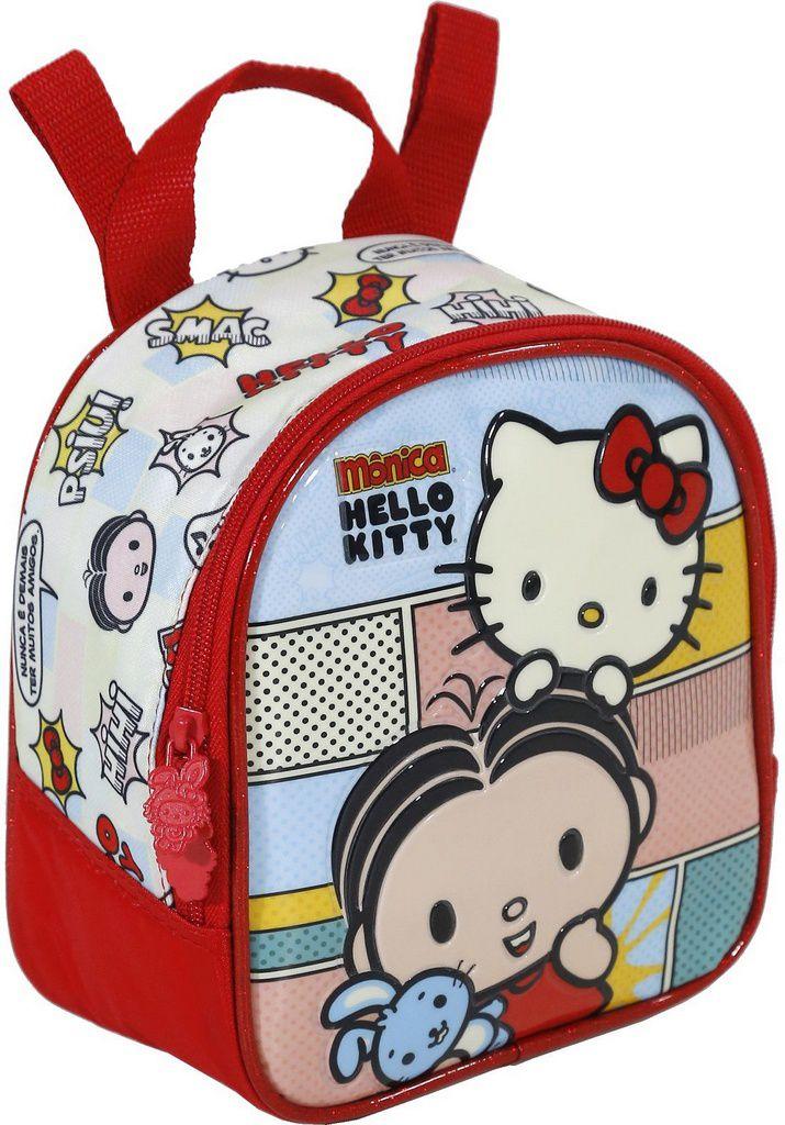 Kit Mochila com Rodinhas Mônica e Hello Kitty com Lancheira e estojo