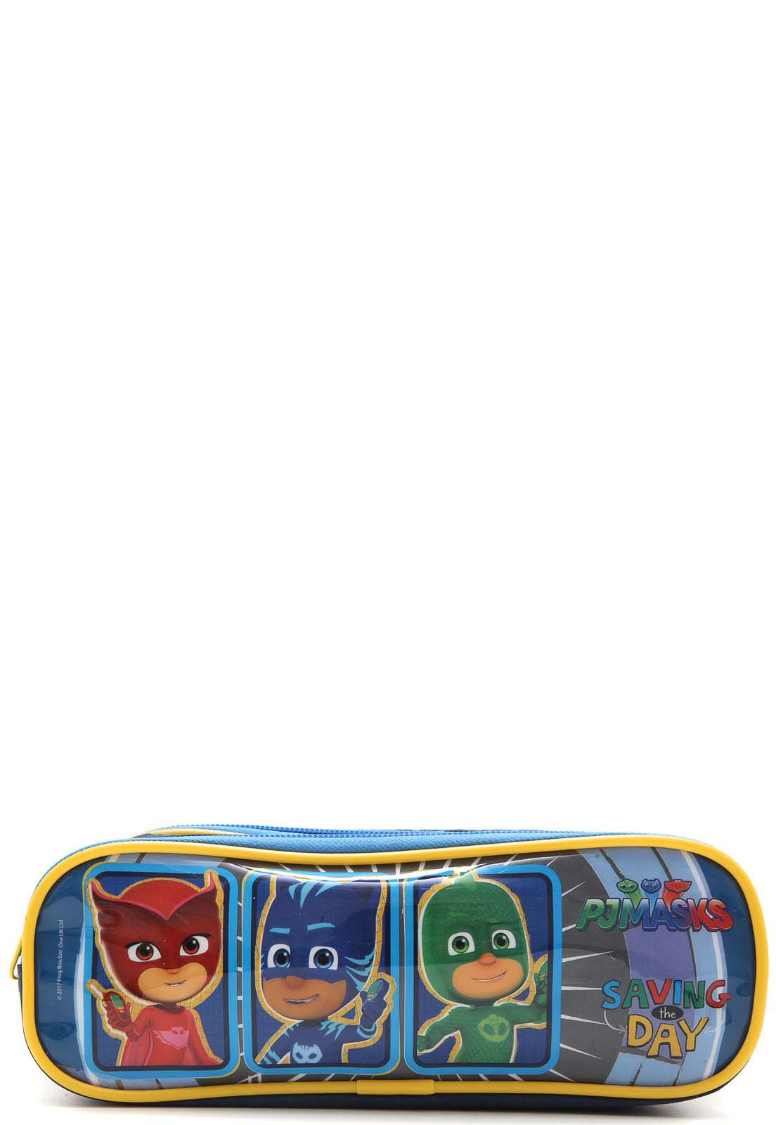 Kit Mochila com Rodinhas PJ Masks com Lancheira e Estojo Azul