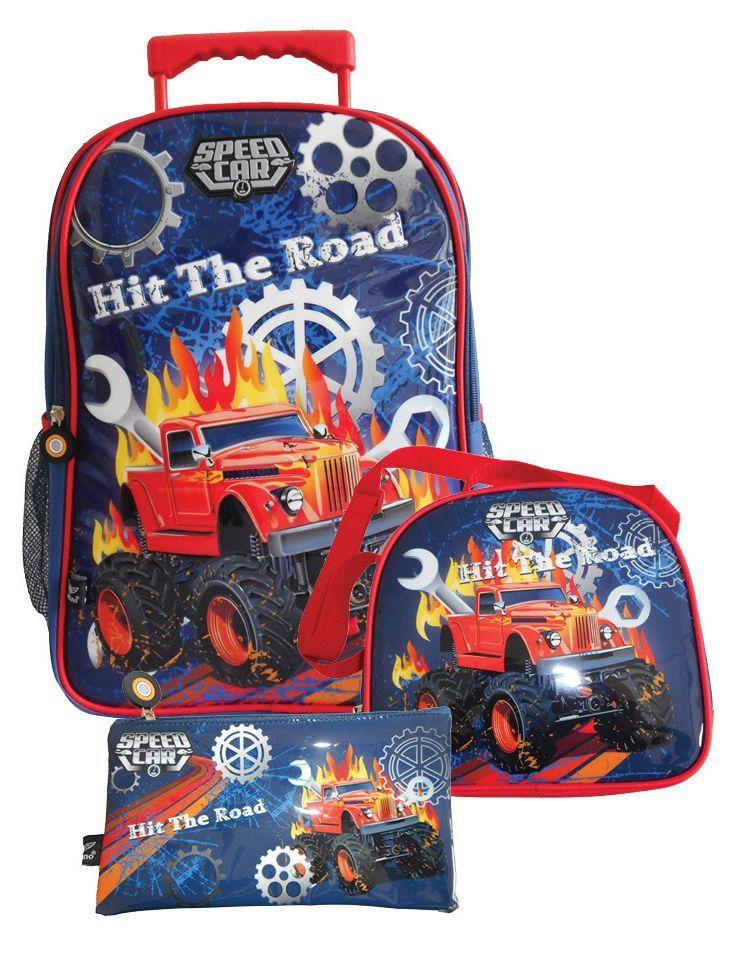 Kit Mochila com Rodinhas Speed Car com Lancheira e Estojo SCK18202