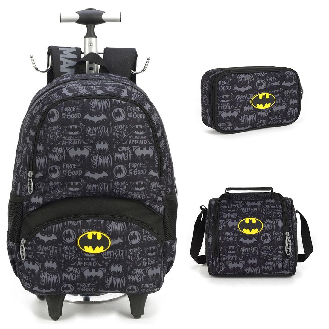 Kit Mochila Infantil Batman com Lancheira e Estojo 100 Pens