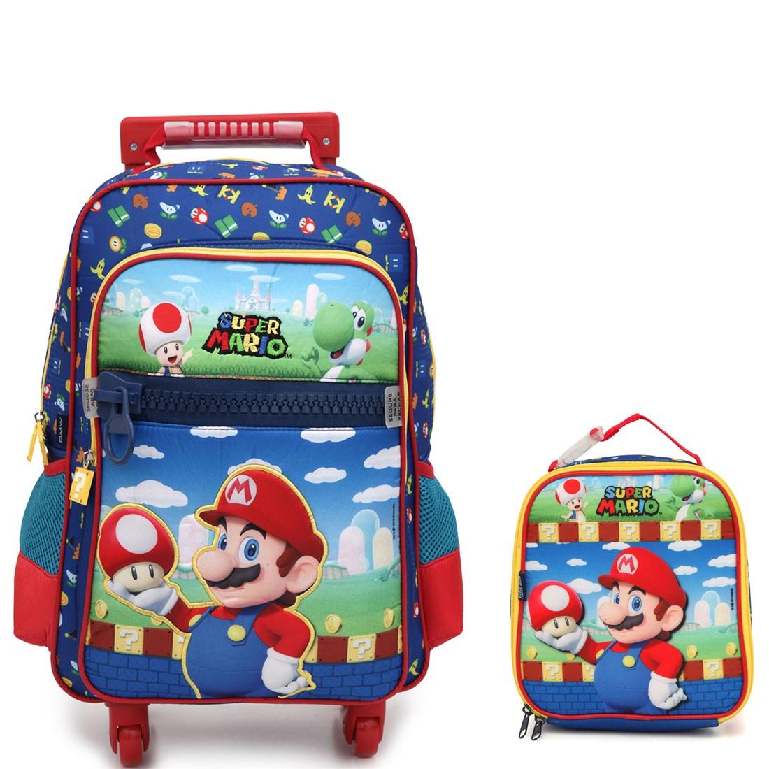 Kit Mochila Infantil com Rodinhas 360 graus Super Mario com Lancheira
