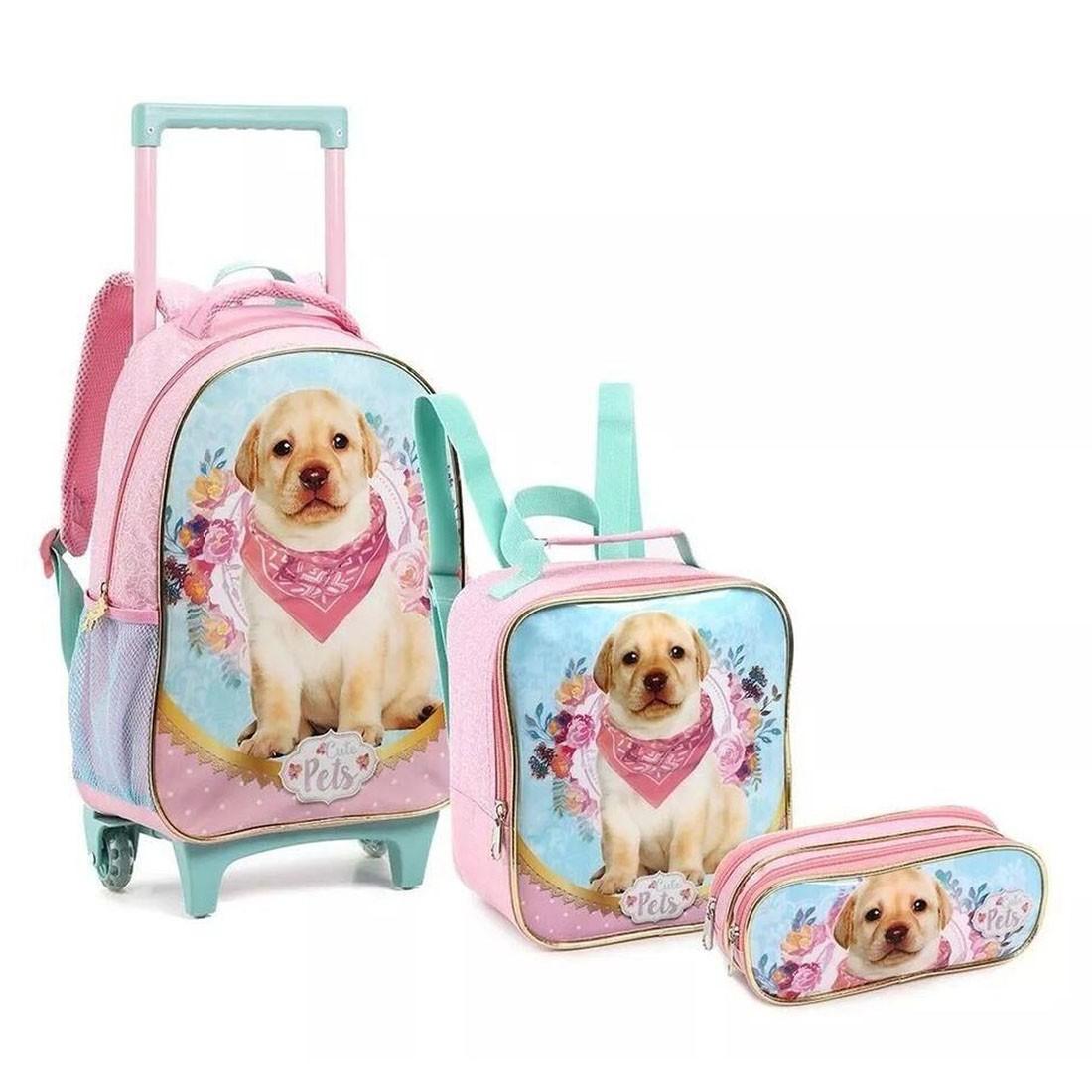 Kit Mochila Infantil com Rodinhas Cute Pets Dog com Lancheira e Estojo Duplo