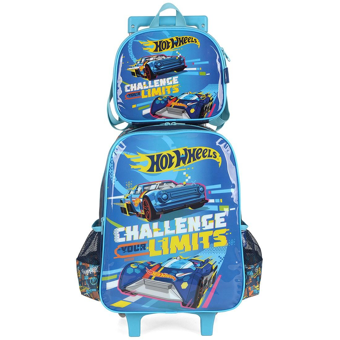 Kit Mochila Infantil com Rodinhas Hot Wheels com Lancheira Azul