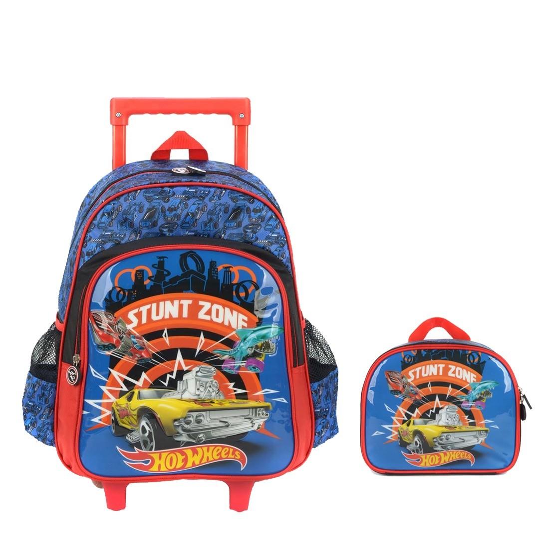 Kit Mochila Infantil com Rodinhas Hot Wheels E Lancheira