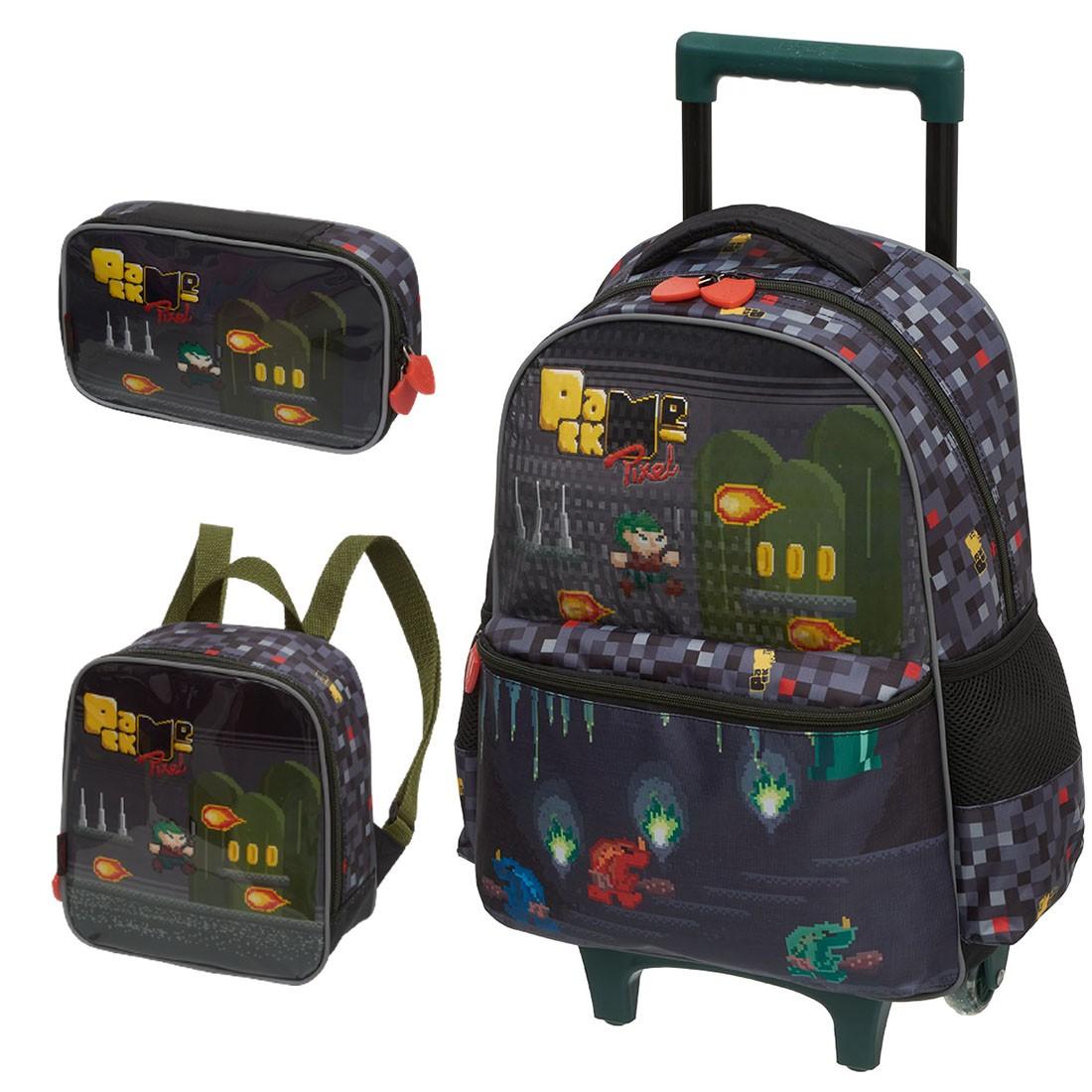 Kit Mochila Infantil com Rodinhas Pack Me Pixel com Lancheira e Estojo 100 Pens