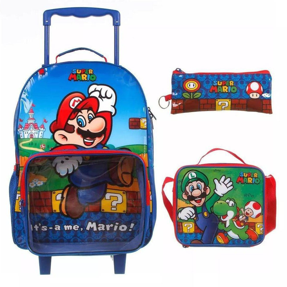Kit Mochila Infantil com Rodinhas Super Mario com Lancheira e Estojo