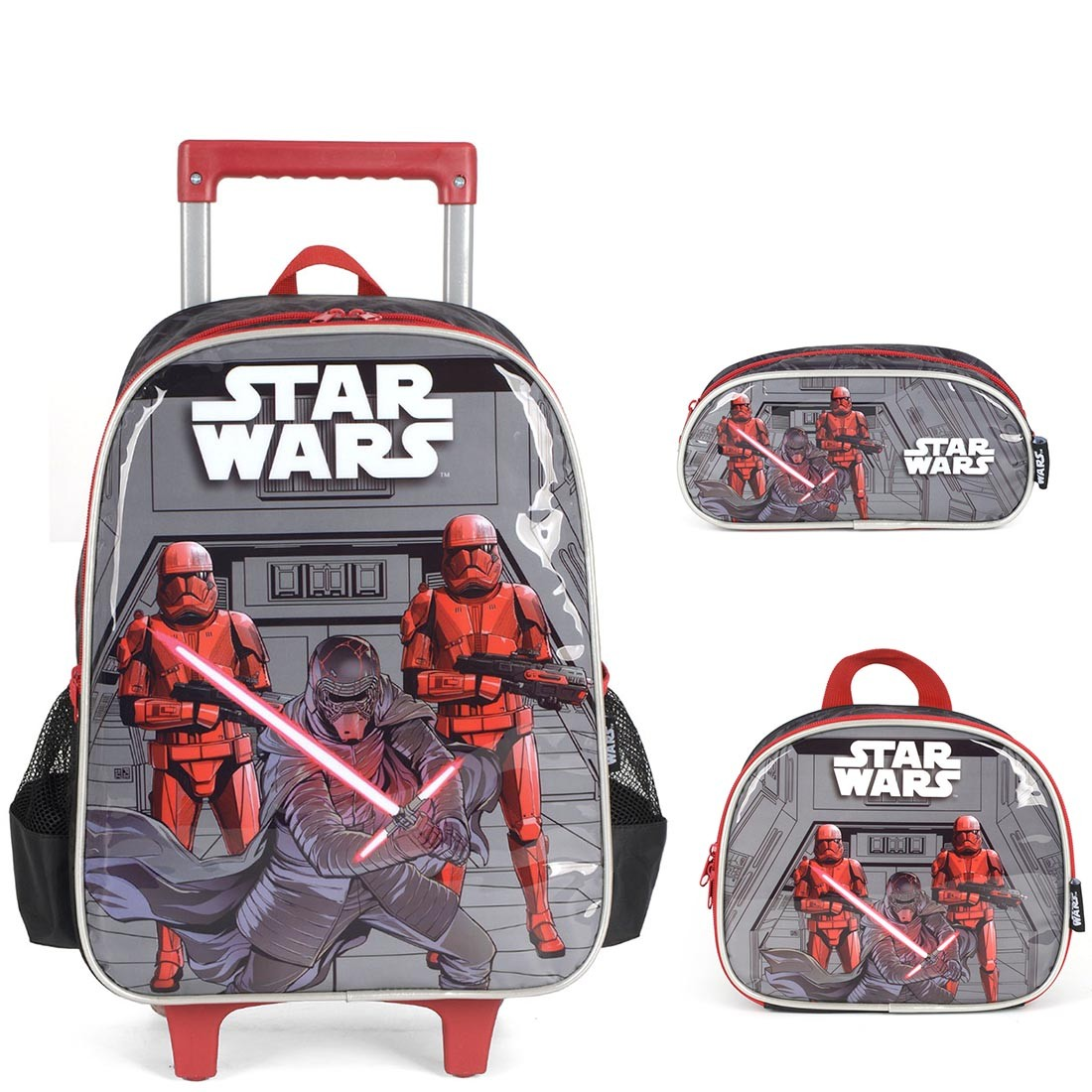 Kit Mochila Infantil Star Wars com Lancheira e Estojo Duplo Cinza