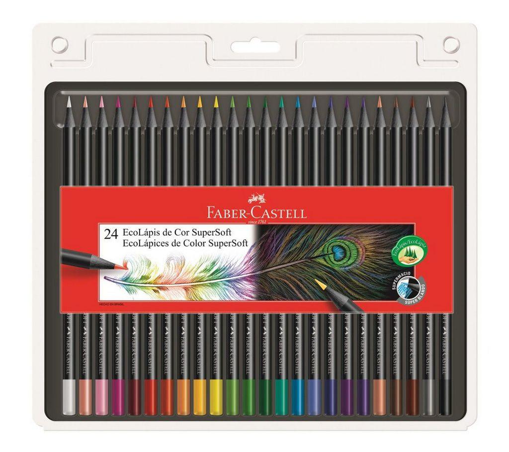 Lápis De Cor Faber Castell Super Soft com 24 cores