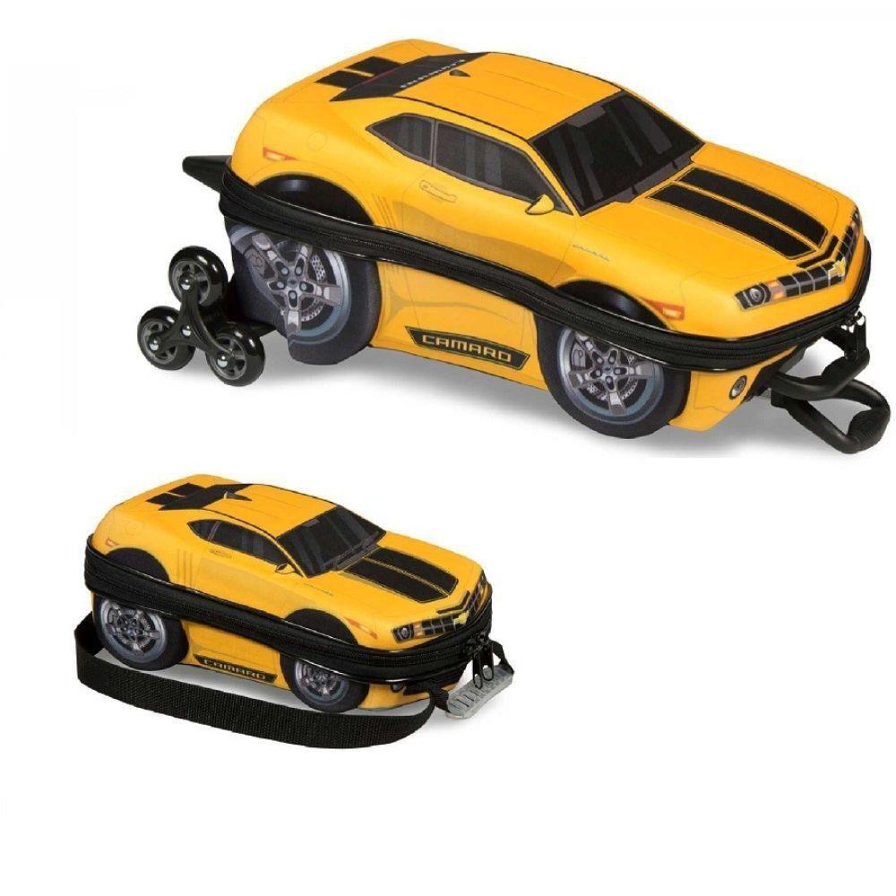 Mochila 3D com Rodinhas e Lancheira  Camaro Amarelo