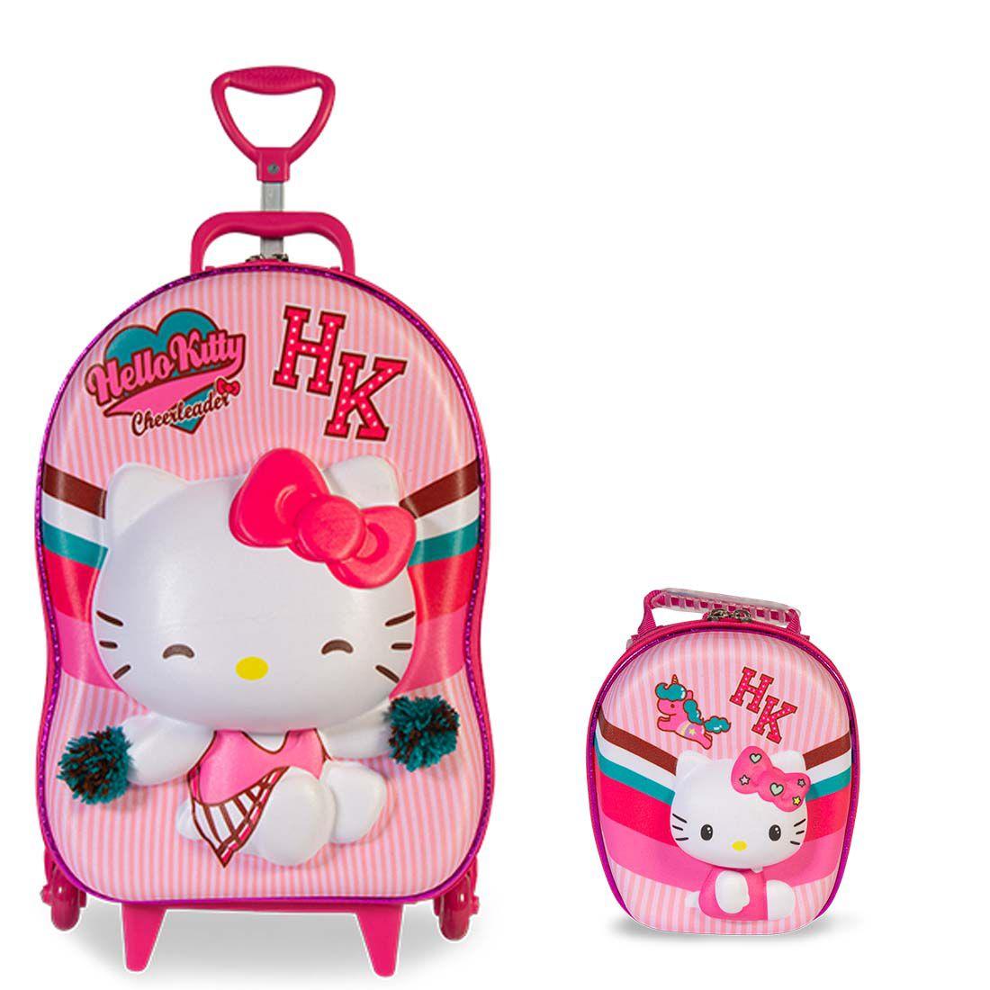 Mochila 3D com Rodinhas e Lancheira Hello Kitty Cheerleader 2823AM19 Lançamento