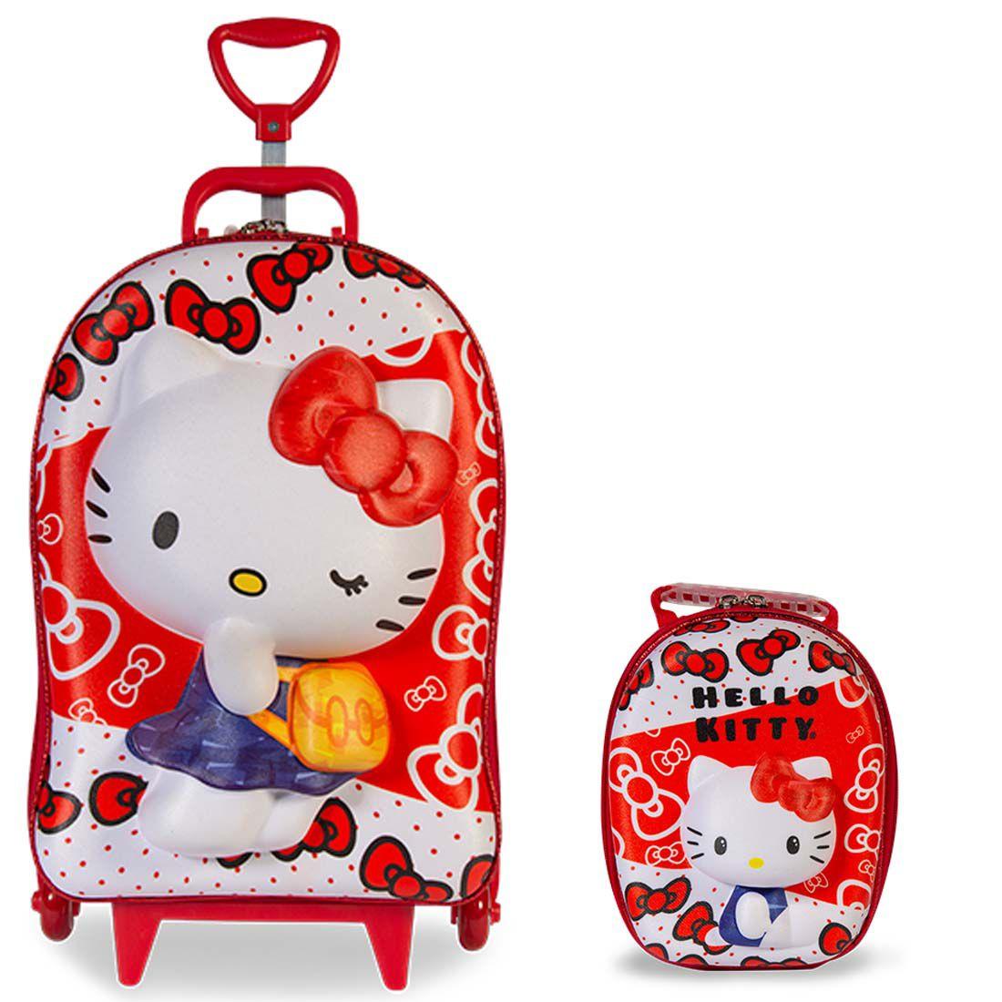 Mochila 3D com Rodinhas e Lancheira Hello Kitty Red  2823BM19 Lançamento