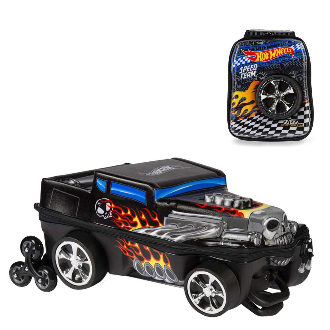 Mochila 3D com Rodinhas e Lancheira Hot Wheels Bone Shaker 2500EM19