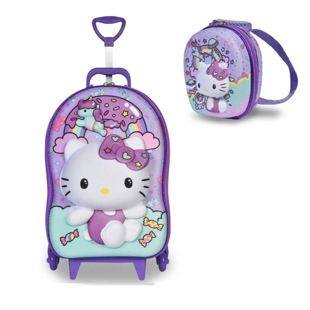 Mochila 3D Hello Kitty Rainbow com Rodinhas e Lancheira