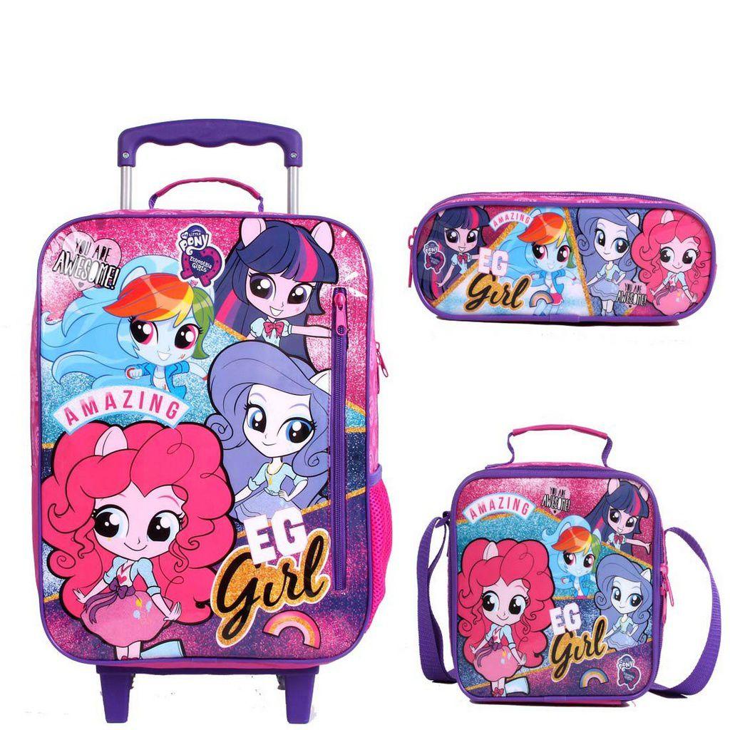 Mochila com Rodinhas Equestria Girls Pink com Lancheira e estojo